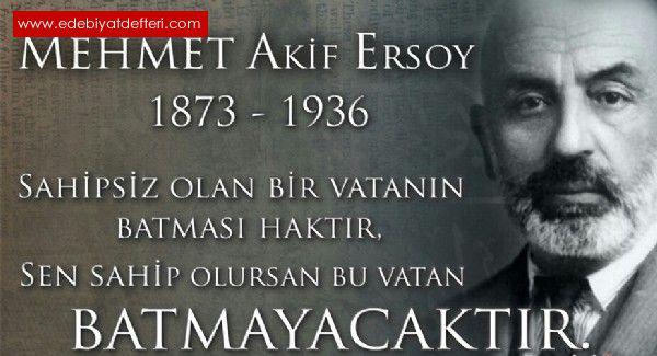 İstiklal şâirimiz Mehmet Akif Ersoy'un ölüm yıldönümü'ne..